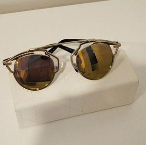 Christian Dior So Real Gold Mirror Sunglasses